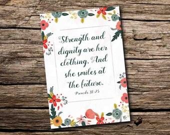 Bible Verse Card - Proverbs 31:25 Card - Christian Cards