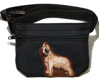Embroidered dog treat waist bag. Breed - Briard. For dog shows and training. Great gift for breed lovers.