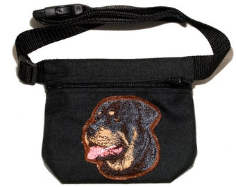 Embroidered dog treat waist bag. Breed - Rottweiler. For dog shows and training. Great gift for breed lovers.