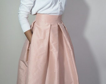 Dupioni Silk Box PLeated Skirt