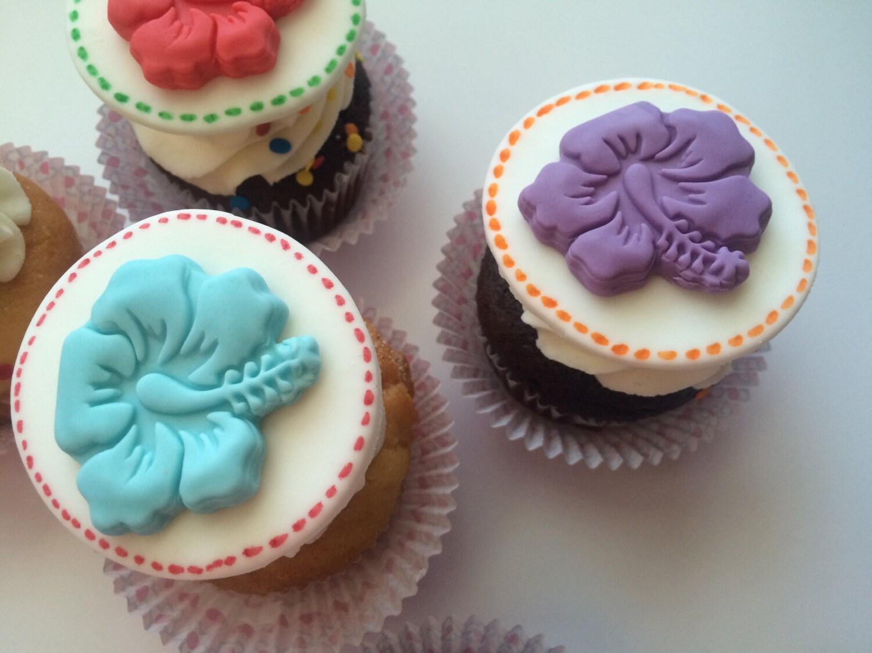 Hibiscus Flower Cupcake Topper Fondant Topper Fondant