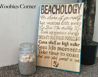 Beach sign, Beachology, Positive quote signs, advice from the beach, Positive wood signs, WOOD BURNED sign, Beach house wood sign