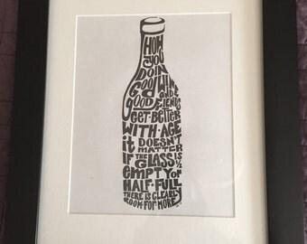 Framed Word Art Wine Bottle Wall Decor, Wine Print, Wine Bottle, Wall Art, Wine Decor, Framed Print, Framed Art