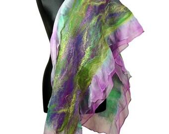 nuno felted silk scarf shawl, felted shawl, felted scarf, wool scarf, purple , green, violet - Feltmondo