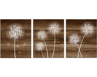 Rustic Home Decor CANVAS, White Dandelion Art, Bathroom Wall Decor, Brown Wood Effect Dandelion Bedroom Decor, Nursery Wall Art - HOME178