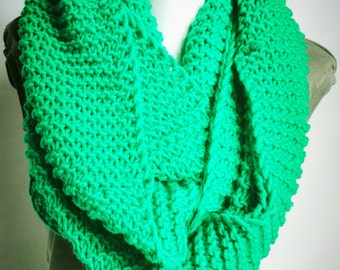 Oversized infinity scarf, green scarf, knitted Scarf Chunky