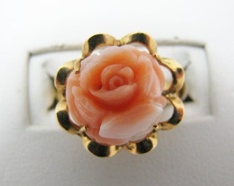 Beautiful Carved Rose Ring in Coral set in 8k Yellow Gold