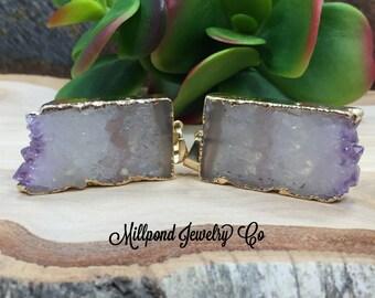 Amethyst Slice, Amethyst Connector, Amethyst Slice Pendant, Amethyst Druzy Pendant, Drusy Pendant, 24 Karat Gold, PG0409N