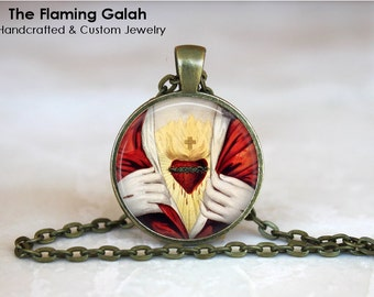 SACRED HEART Pendant • Heart of Jesus • Sacre Coeur • Flaming Heart • Catholic Jewlery • Gift Under 20 • Made in Australia (P0641)