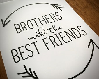 Brother's Make The Best Friends Print - Family Print - Framed or Unframed - Nursery - Brother - Siblings - Greeting Card for Brothers