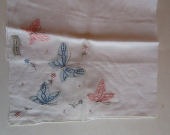 Vintage Hand Embroidered Butterfly Hankie, Vintage Franshaw Hand Embroidered Blue and Pink Butterfly Hankies, Franshaw Handkerchief Vintage