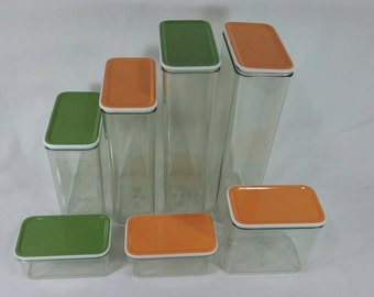 Retro mepal rosti denmark 7 piece stacking canister set vintage