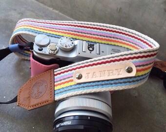 Rainbow DSLR camera strap,Rainbow Camera Strap, leather camera Strap