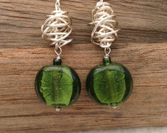 Green Silver-Lined Glass  and Silver Twist Earrings