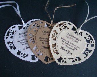 10 x Personalised Wedding Favour Double Heart Thank You Tags