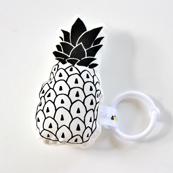 Pineapple Rattle Organic Baby Toy / Hand Printed / by BabeeandMe