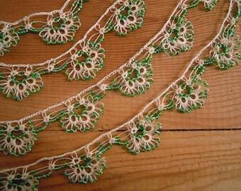 green beaded trim, handmade crochet oya