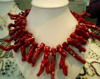 17 inches 8-40mm Red Natural Branch Coral Necklace