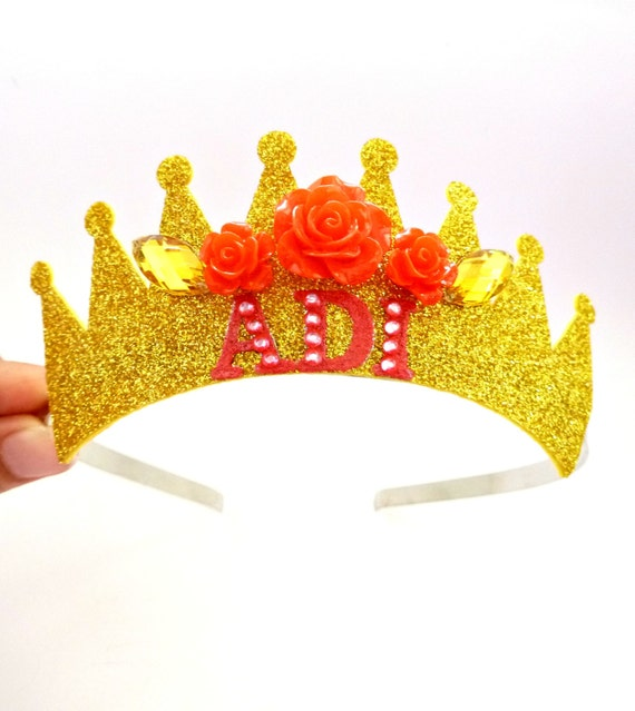 Personalizada diadema princesa BELLE corona, la bella y la bestia, Belle  Rose Tiara,