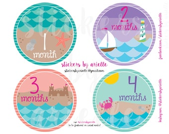 Month by Month Baby Girl Beach Stickers