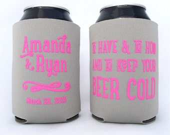 To Have and To Hold and To Keep Your Beer Cold // Personalized Wedding Can Coolers