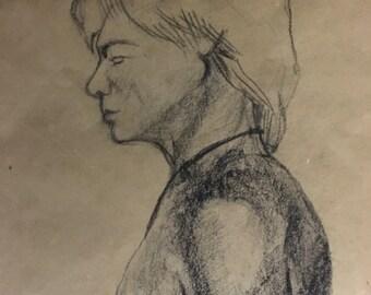 "Charcoal Figure Drawing Study   Male Figure Life Study   Illustration 16 x 20   Profile Nude   ""Male 08"""