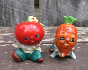 Vintage Veggie Children Salt and Pepper Shakers