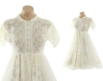 Vintage 40s Sheer Embroidered Dress Short Sleeve Pinup Rockabilly Dress Full Skirt 1940s Ivory Winter White Small S Wedding Gown