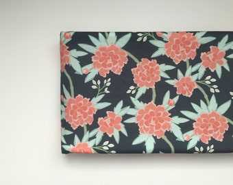 Changing Pad Cover  - Paeonia Navy Coral Mint