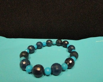 Black and Blue Beaded Bracelet