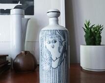 West German ceramic Bottle Decanter with female nude by Altenkunstadt vintage bavaria porcelain bjorn wiinblad