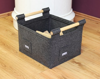 Felt Firewood Basket with Wooden Side Handles. log basket