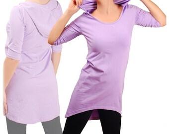 Tunic with a hood, 3/4 sleeves, dance yoga activewear tunic, pixie elven, tribal , fairy festival tunic.