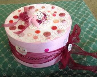Handmade Pink Hat Box Cute