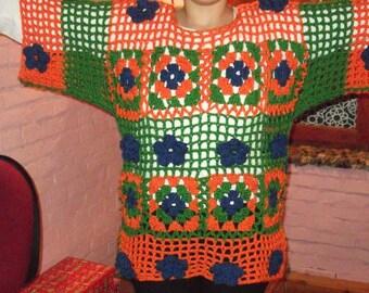 Hand Knitted tunic,crazy tunic, multicolour tunic, knitte crochet tunic, flower tunic