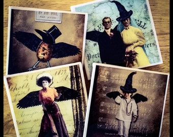 "4"" x 4"" Creepy Halloween Ceramic Coasters - A Set (Set of 4) - Drink Coasters - Home Decor"