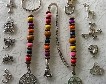Beaded Keyring~Wiccan~wooden beaded tree of life~buddha~om~Unisex Car Keyrings