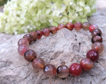 Red Dragon agate bracelet / gemstone bracelet / stretch bracelet / semiprecious stone jewelry / agate jewelry