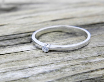 Engagement diamond sterling silver soliter classic ring, promise silver daimond ring, engagement silver ring