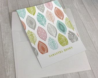 Personalized Custom Name Leaf Stationary Flat Notecards -  Set of 25