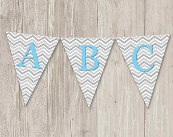 Chevron Gray & Baby Blue Triangle Banner | Printable Flag Banner | Bunting Banner | Digital File