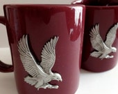 Sale American Bald Eagle genuine pewter crest on burgundy ceramic mug set, eagle in flight, wedding gift, United States coin symbol, veteran