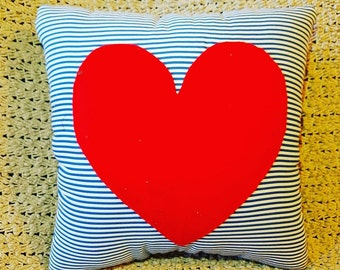 Red Heart and Stripes Pillow