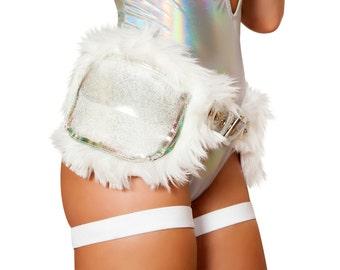 Light-up Faux Satchel - White Fanny Pack, Fanny Pack, Rave Fanny Pack, Waist Bag, Rave Bag