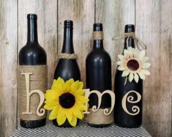 "Decorated wine bottles, hand painted set of wine bottles, ""home"" wine bottle decor, wine bottle decorations,  custom wine bottles"