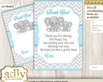 Boy Elephant Thank you Card Printable for Baby Boy Shower or Birthday DIY Blue Grey , Chevron - oz110bsB22