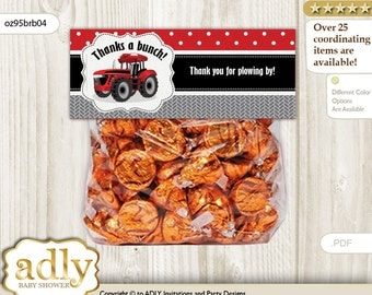Boy Tractor Treat Goodie bag Toppers Printable for Baby Boy Shower or Birthday DIY Red Black, Farmer - oz95brb4