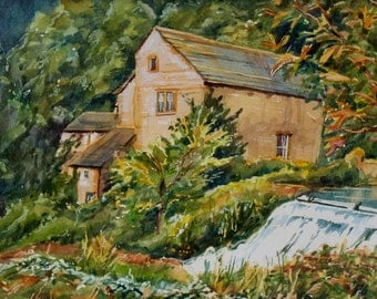 Derbyshire Landscape, Countryside River & Waterfall, Alport Mill, Trees, Original Watercolour, Summer time, Ready to Frame, 18 x 12 Inches