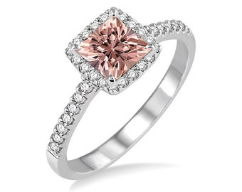 Classic 1.25 Carat Princess Diamond Engagement Ring with Morganite and Diamond in 10k White Gold morganite and diamond engagement ring