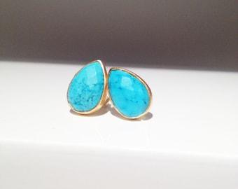 Turquoise Teardrop Gold Stud Earrings